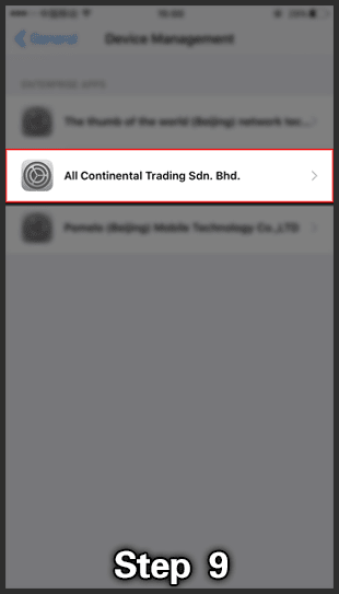 Kiss918 ios install step 4 open all continental